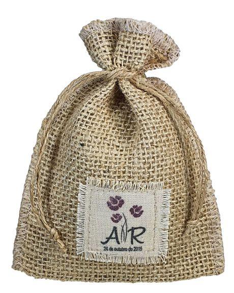 Saquinho de juta personalizado 06x08 - Impressão etiqueta algodão costurado - Linha Orgânica 4262  - Litex Embalagens