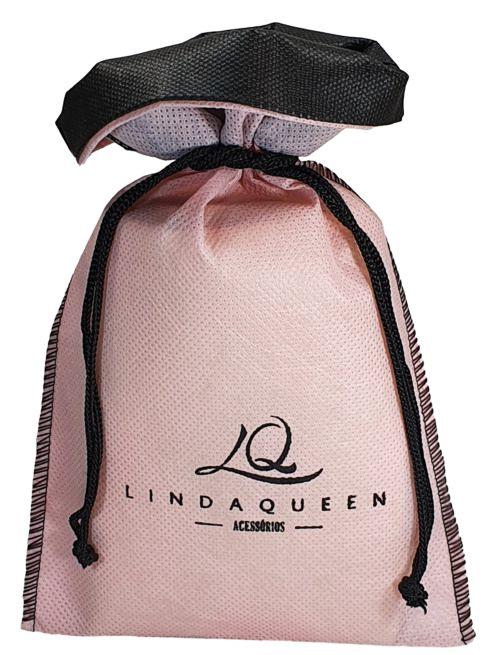 Saquinho de tnt 60 para semijoias - Tamanho  20x30 - borda colorida - personalizado em serigrafia -  Linha classic 4300  - Litex Embalagens