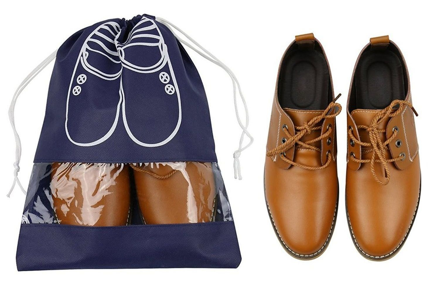 Saquinho de tnt personalizado para sapato - Tamanho  30x40 - com visor de pvc cristal personalizado em serigrafia 1 cor - Linha Classic  1448  - Litex Embalagens