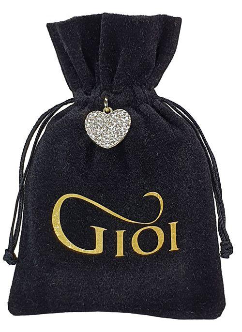 Saquinho de veludo personalizado para joias - 10x15 - impressão em hot stamping - pingente de coração niquelado  - Linha Premium 1069  - Litex Embalagens