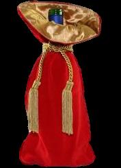 Saquinho de veludo para garrafa  - borda dupla de cetim - fechamento de corda e pingente de seda 18x40 - Linha Premium 4004  - Litex Embalagens