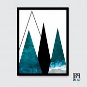 Quadro Decorativo | Arte Geométrico Triângulos Mar