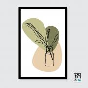 Quadro Decorativo | Arte Vaso flor manchas