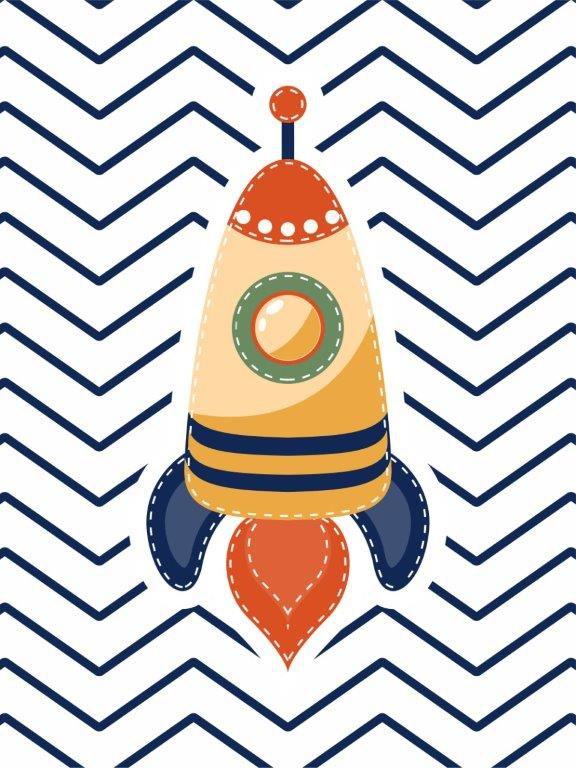 Quadro Decorativo | Arte Foguete infantil