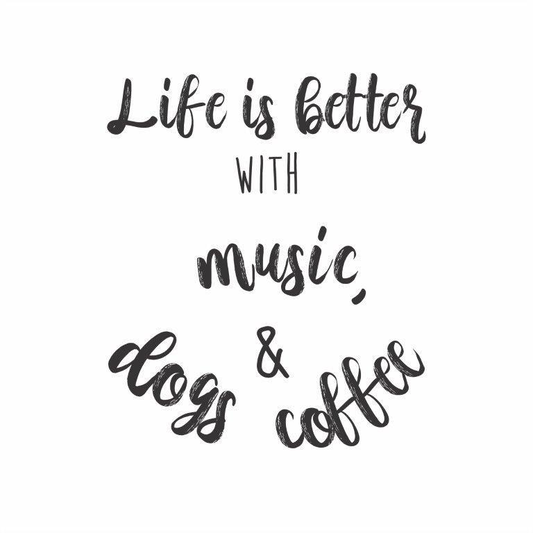 Quadro Decorativo | Arte Music, Dogs and Coffee