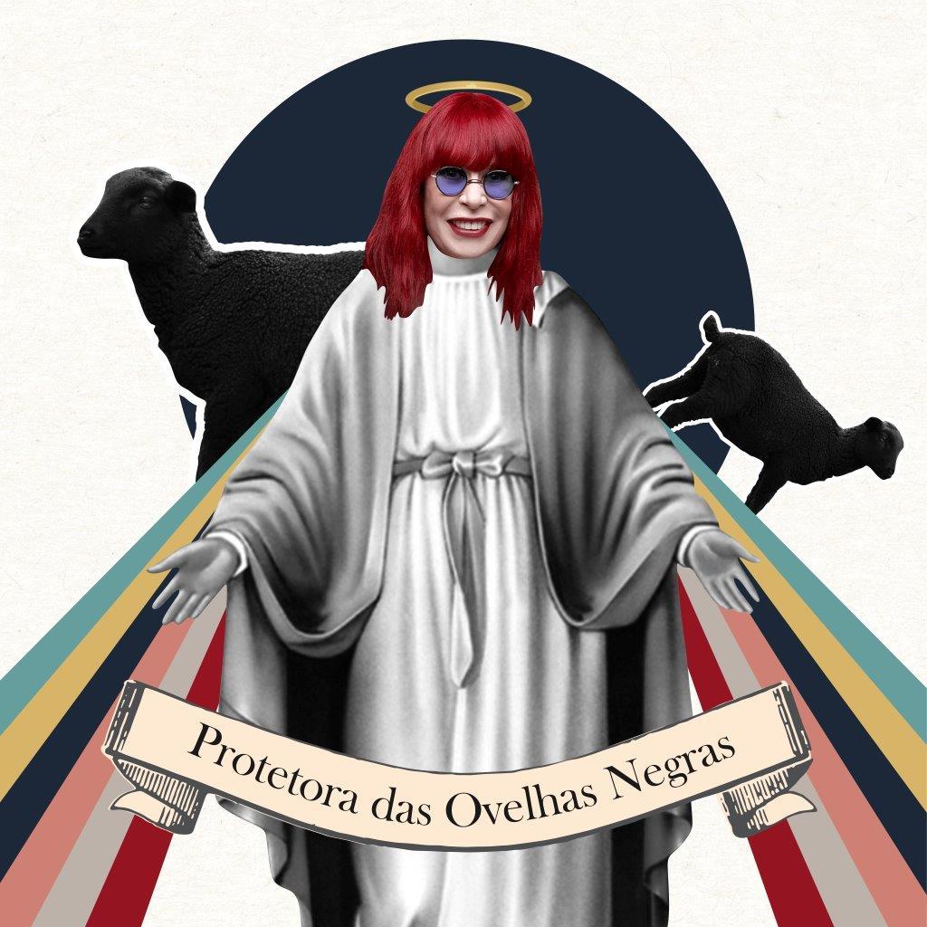 Quadro Decorativo   Colagem Rita Lee - Protetora das ovelhas negras