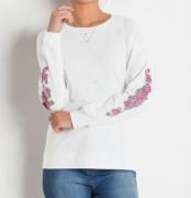 Blusa Branca com Estampa nas Mangas