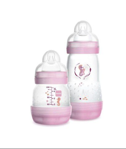 Kit 2 Mamadeiras Easy Start Anticólica 130ml e 260 ml Rosa 0+Meses
