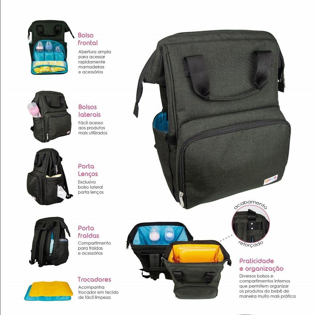 Mochila Bolsa Maternidade Funcional Bebe Infantil Diaper Bag - Preta Azul 09cc8b30004