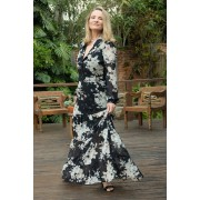Vestido Longo Joana em Chiffon Estampado