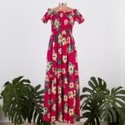 Vestido Longo Jujú Floral com Corpo em Lastex e Saia Ampla