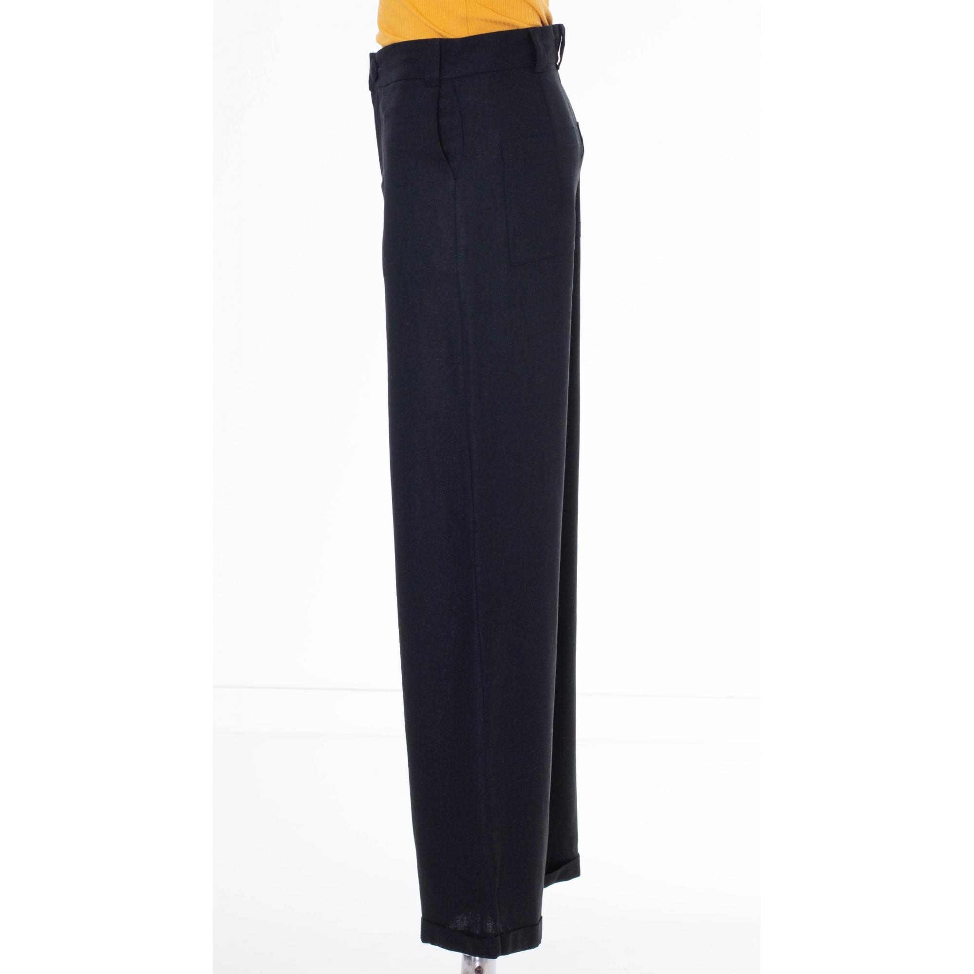 Calça Pantalona Brenda em Linho com Barra Italiana