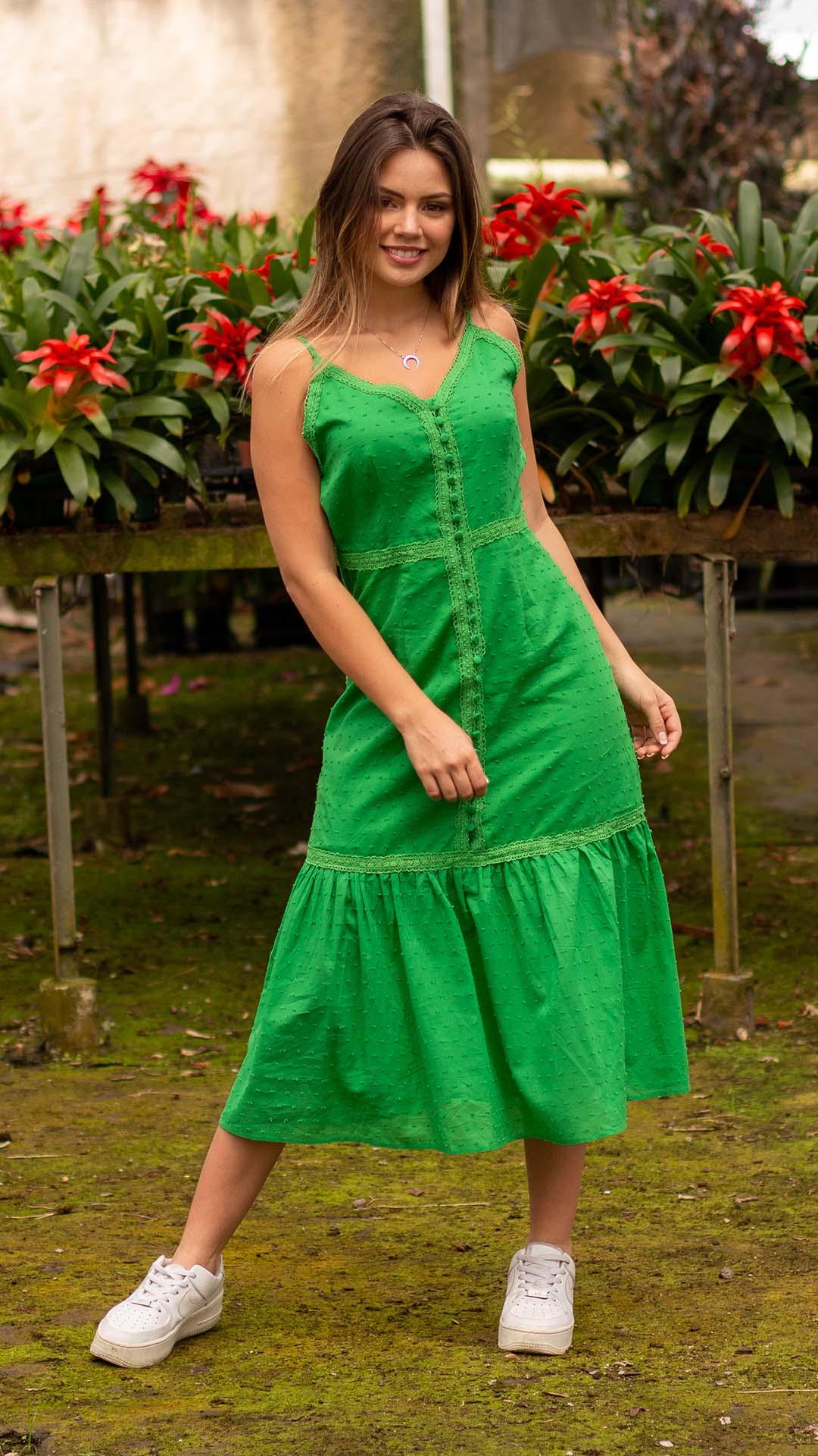 Vestido Ândria em Lese com Botões Forrados