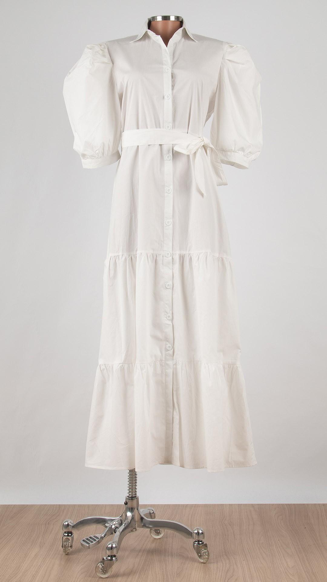 Vestido Angélica com Gola de Camisa e Mangas Bufantes