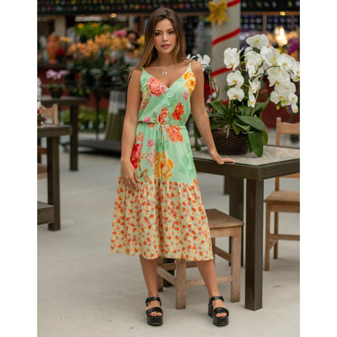 Vestido Camponês Midi Floral