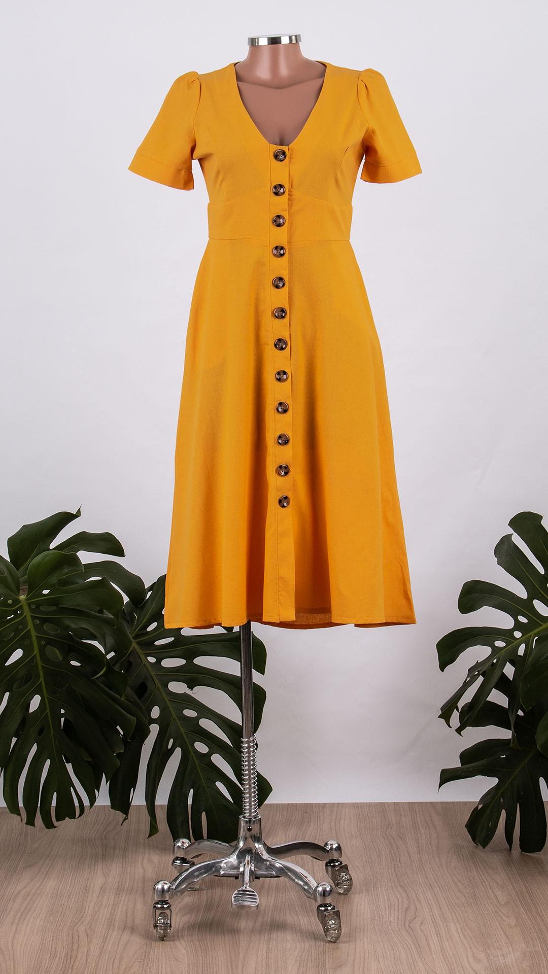 Vestido em Linho Lourdes Midi Botões Frontais
