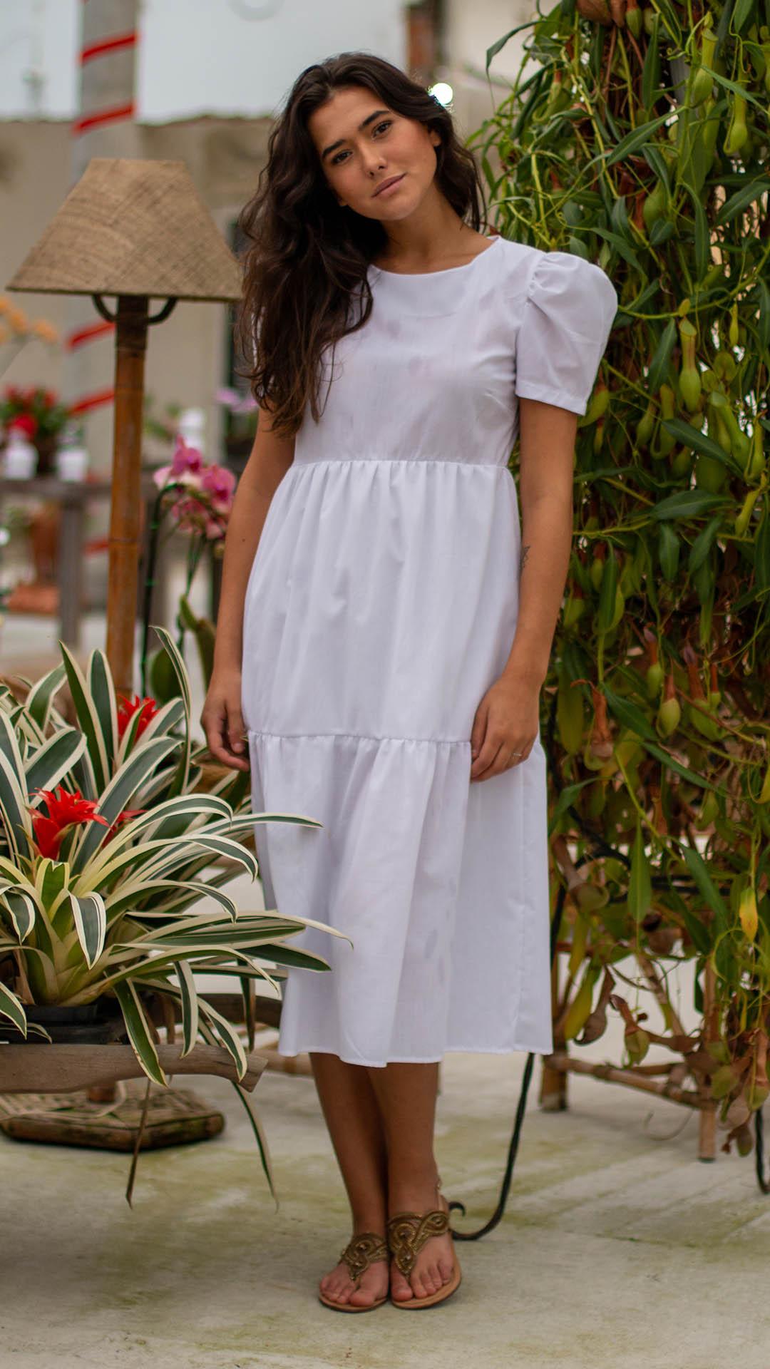 Vestido Lilian com Mangas Fofas em Tricoline