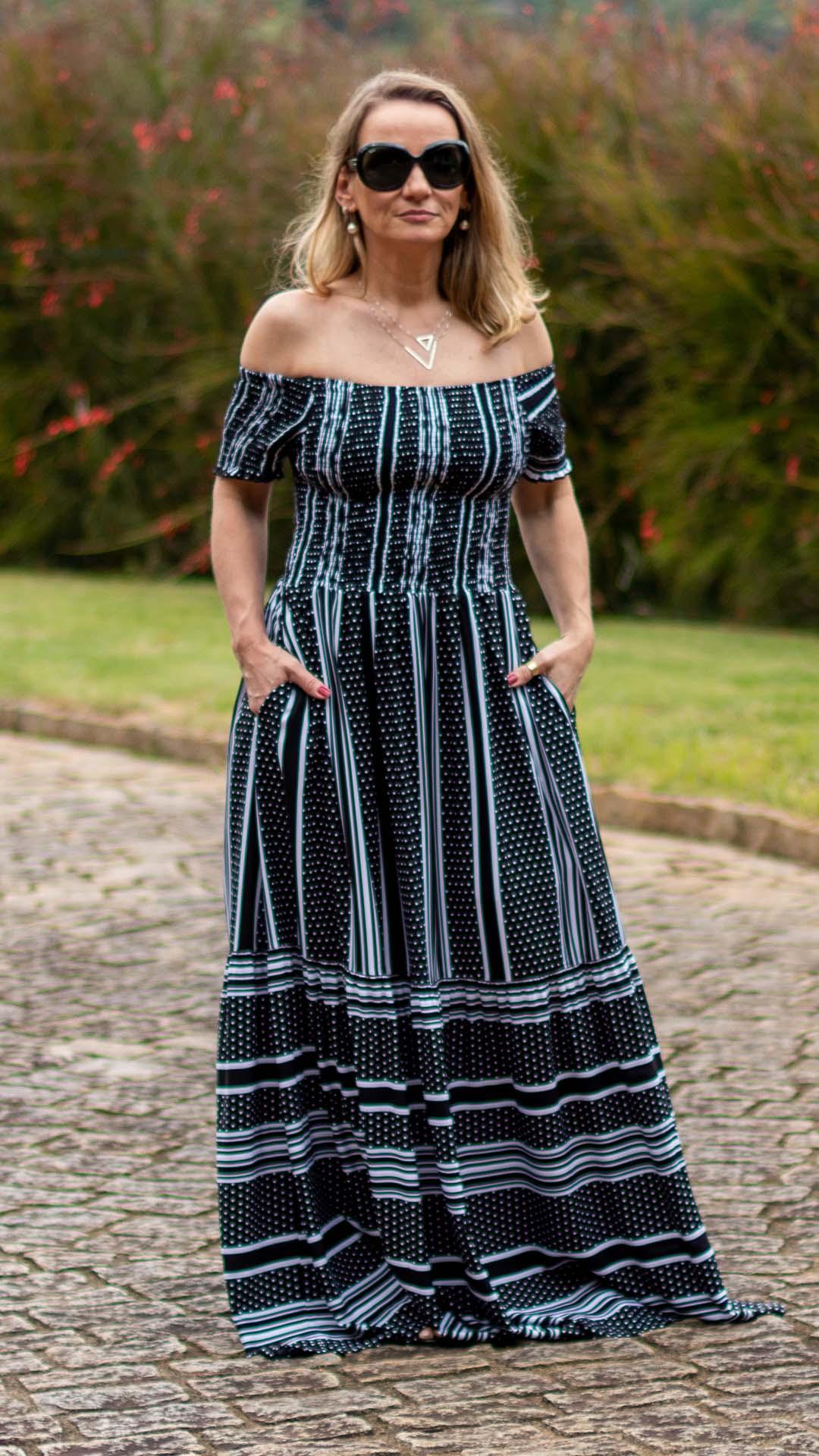 Vestido Longo Priscila Xadrez Gride Lastex
