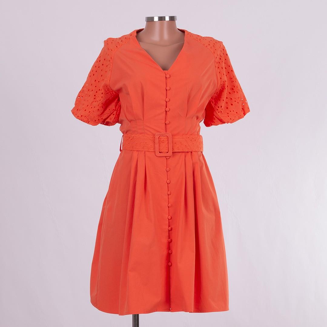 Vestido Olinda com Penses na Cintura e mangas de Lese