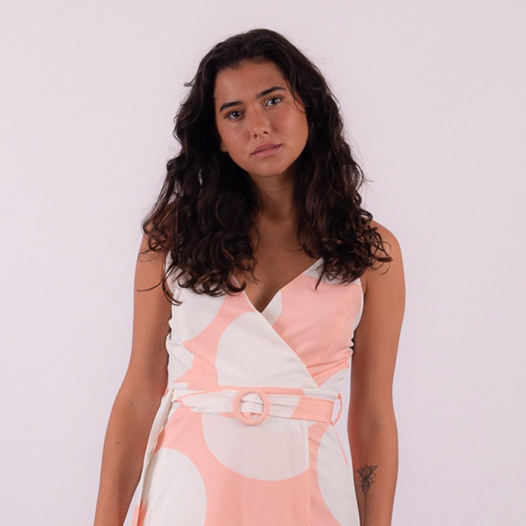 Vestido Rose Midi Transpassado Poá Grande