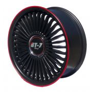 Kit 4 Rodas Aro  17x7 Gt-7 Spider 4x100 Black PSB-RED LINE