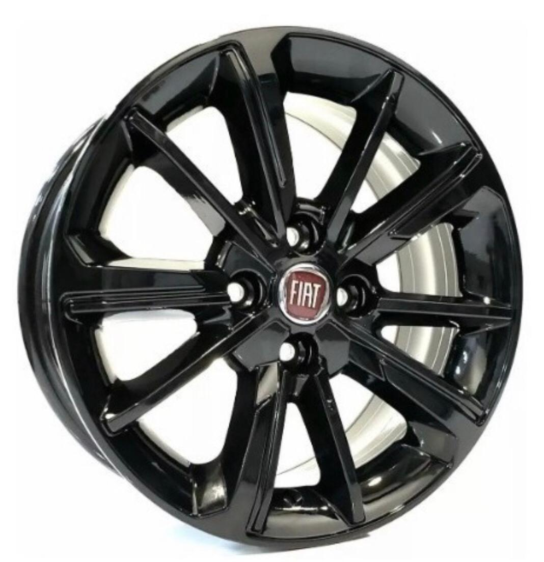 Kit 4 Rodas Aro 15x6 Fiat Cronos Black 4x98 Krmai S03