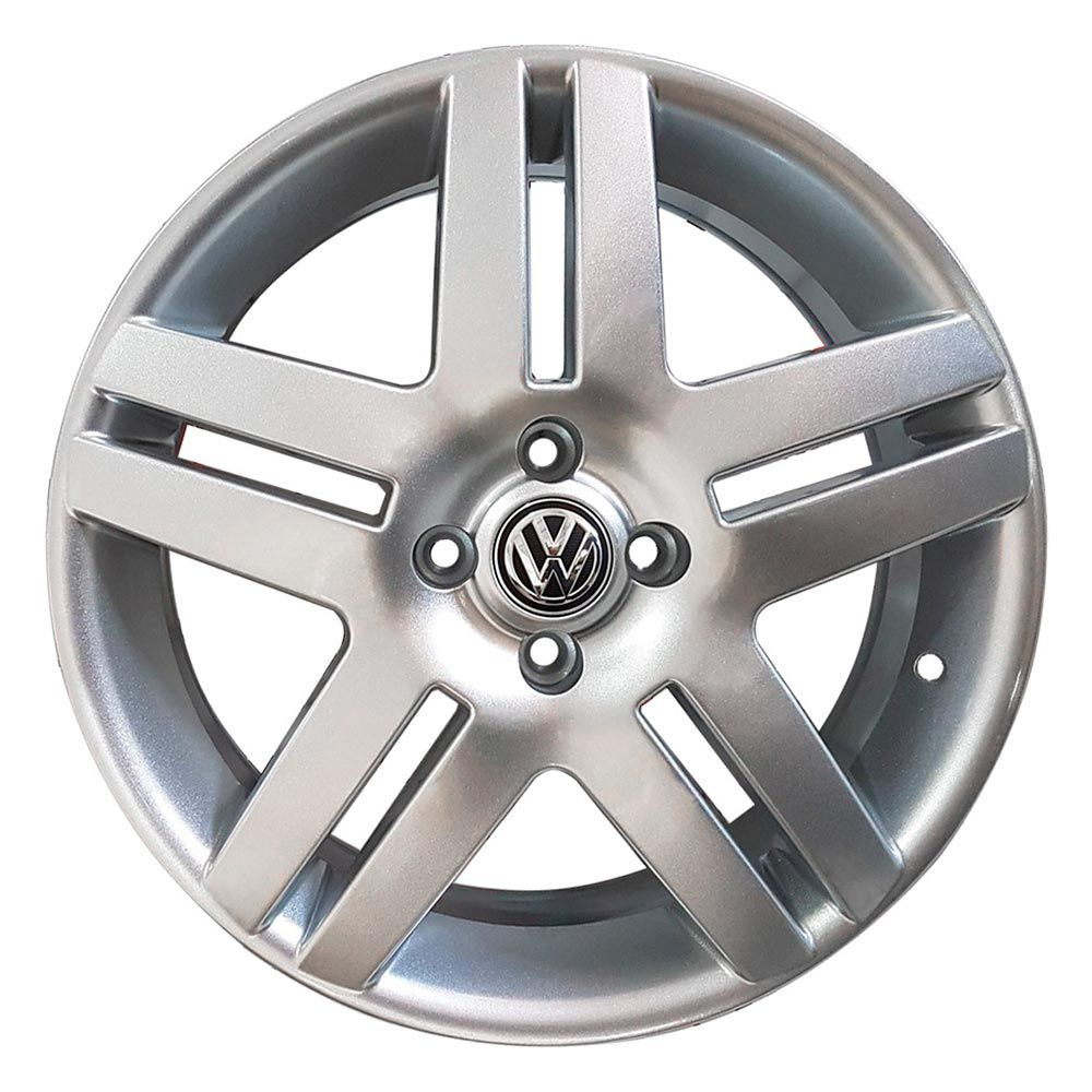 Kit 4 Rodas Aro 17x6 Vw Long Beach 5X100 Prata BRW 1340