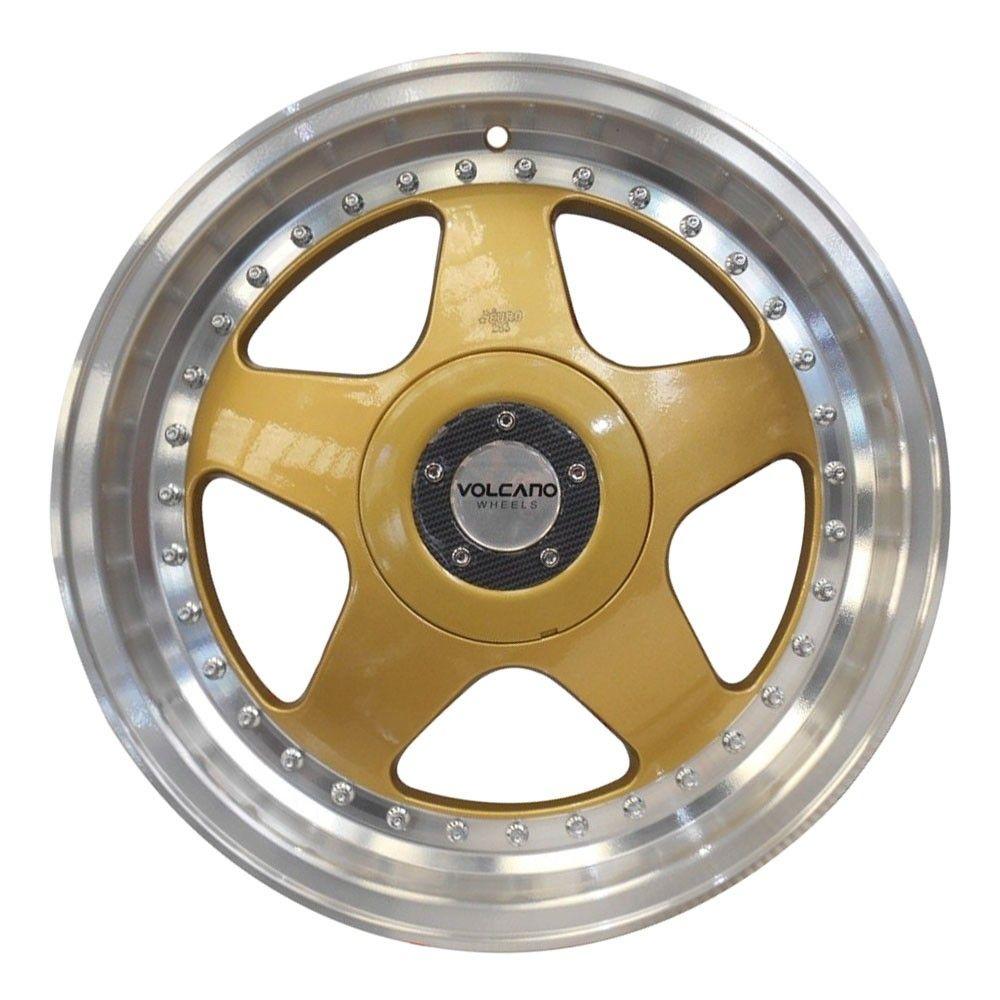 kit 4 rodas aro 17x7 Volcano Euro 4X100/4X108 dourado e diamante