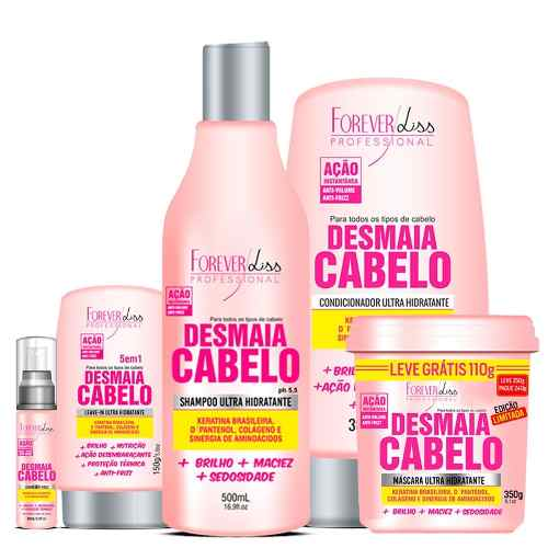 Kit Completo Desmaia Cabelo forever liss + Kit Cresce Cabelo 250g