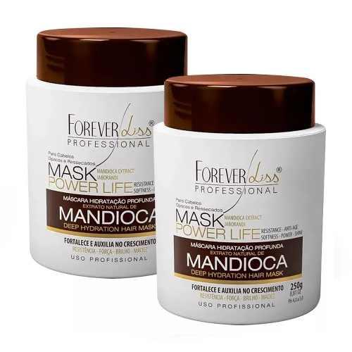 Kit 3 Mascaras Hidratante Crescimento Mandioca 950g Power Forever Liss