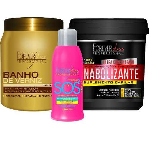 Kit Sos + Banho De Verniz 1kg + Anabolizante 950g Forever Liss