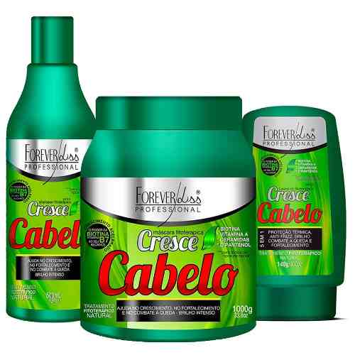Kit Cresce Cabelo Shampoo + Máscara 1kg + Leave-in - Forever Liss
