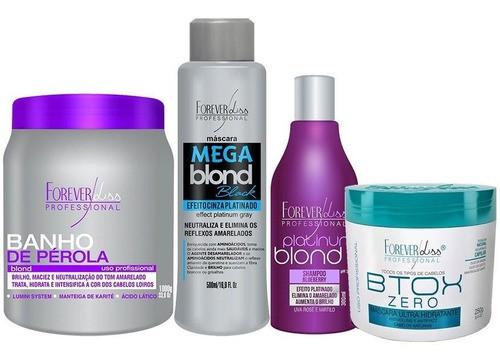 Kit Banho Pérola 1kg, Mega Blond Black, Shampoo Platinum, Btox Zero 250g