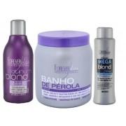 Banho Pérola 1kg + Mega Blond Black + Shampoo Platinum Blond - Forever Liss