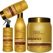 Kit Shampoo + leve-in + queratina + Mascara Banho De Verniz 1kg - Forever Liss