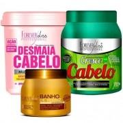 Kit Mascara Desmaia Cabelo 950g + Mascara Cresce Cabelo 1kg + Mascara Banho de Verniz 250g - Forever Liss