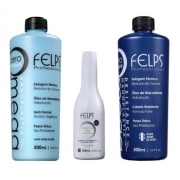 Felps Kit Progressiva Omega Zero Sem Formol 2x500ml + Shampoo Antirresiduo 250 ml
