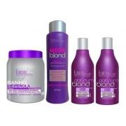 Kit 1 Banho De Pérola, 1 Mega Blond E 2 Shampoos Matizador