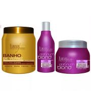 Kit Desamarelador Shampoo E Máscara Platinum Blond E Mascara Banho De Verniz 1kg