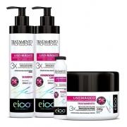 Kit Liso Magico Eico Shampoo Mascara Condicionador Ampola