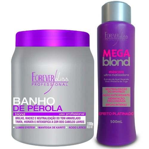 Mascara Banho De Pérola 1kg + Mega Blond 500ml - Forever Liss