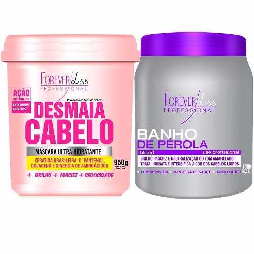 Kit Forever Liss Desmaia Cabelo 950g + Banho De Perola 1kg