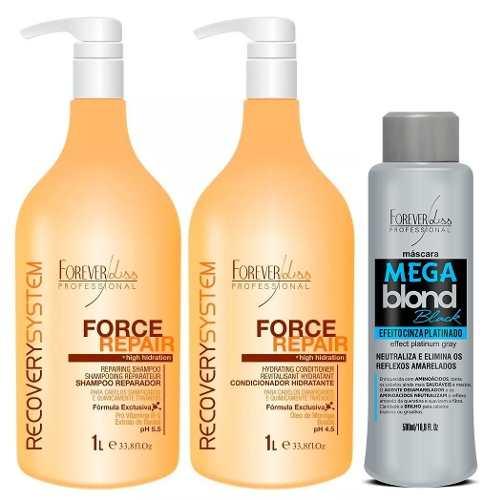 Forever Liss - Force Repair Shampoo e Condicionador 1L + Mega blond Black