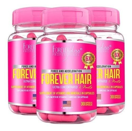 3 Forever Hair Crescimento Capilar 30 Cápsulas Forever Liss
