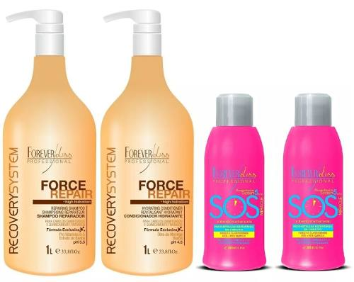 Forever Liss 2 Sos 300ml + Force Repair Shampoo E Cond 1l