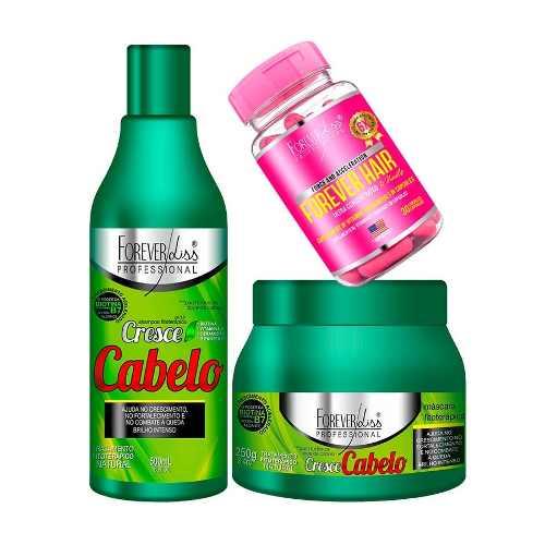 Kit  Shampoo + Mascara 250g + Forever hair - Cresce Cabelo forever liss