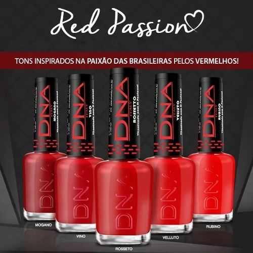 Esmalte Red Passion 10ml Cor Mogano Dna Italy