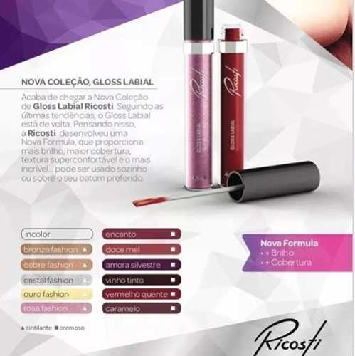 Gloss Labial 4,5ml - Cor Cristal Fashion - Ricosti
