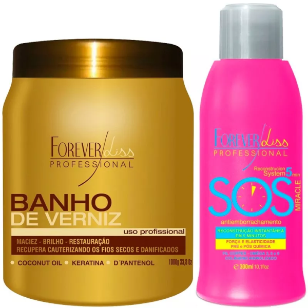 Banho De Verniz 1kg + Sos Antiemborrachamento Forever Liss
