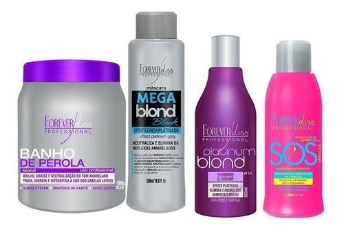 Banho Pérola 1kg, Mega Blond Black 500ml, Shampoo Platinum E Sos